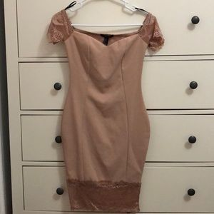 Brand New, Tan Hourglass Off-the-Shoulder Dress